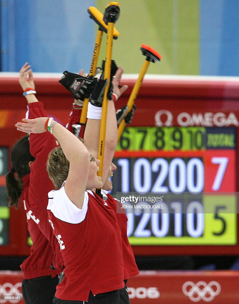 The Swiss women's curling team wave to supporters after the Canada vs Switzerland match in the women's curling semi-final at the 2006 Turin Winter Olympic Games, in Pinerolo 22 February 2006. Switzerland defeated Canada 7 to 5, and will face Sweden in the final.