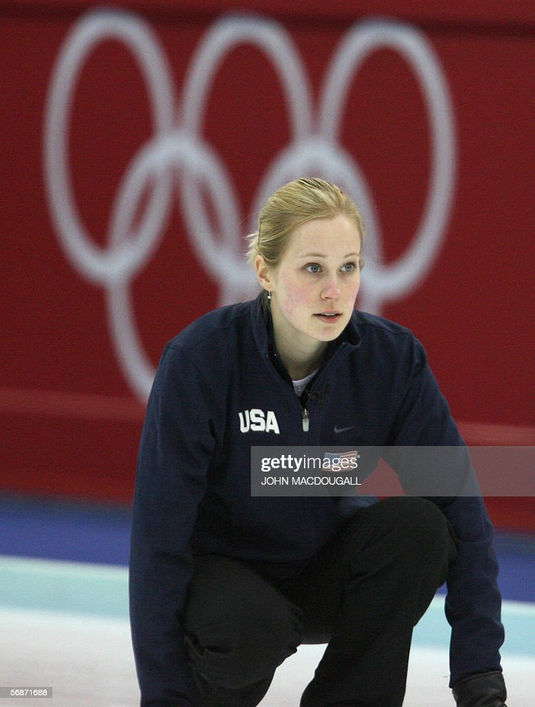 US skip Cassie Johnson follows her throw during the Russia vs USA match in the women's round robin curling event at the 2006 Turin Winter Olympic...
