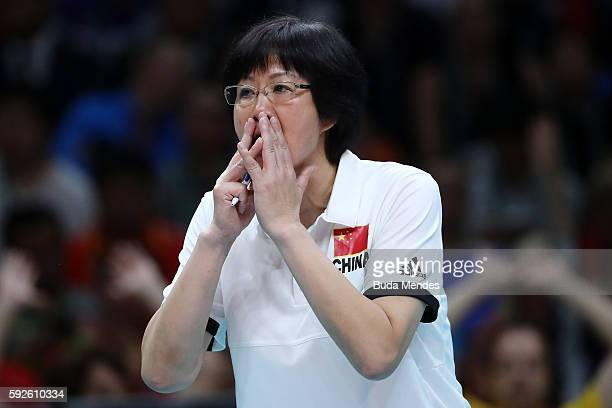 Ping Lang head coach of China yells during the Women's Gold Medal Match between Serbia and China on Day 15 of the Rio 2016 Olympic Games at the...