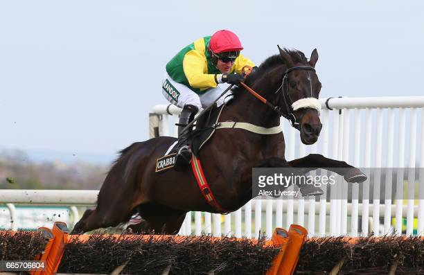 Pingshou ridden by Robbie Power clear the last fence on their way to victory in the Crabbie's Top Novices' Hurdle Race at Aintree Racecourse on April...