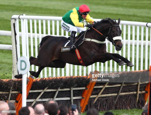 Pingshou ridden by Robbie Power on their way to victory during the Crabbie's Top Novices' Hurdle on Ladies Day at Aintree Racecourse on April 7 2017...