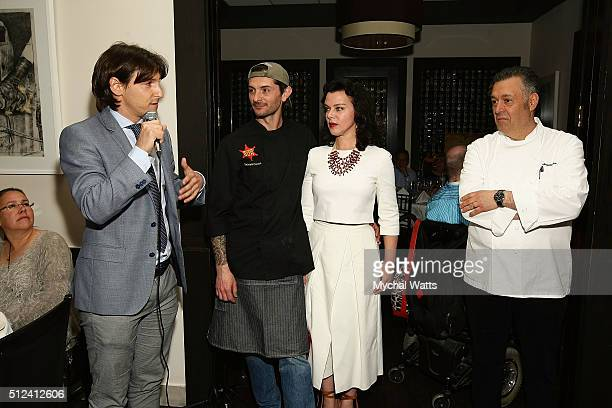 Pinjo Grigio Wine Sponsor with Chef Gabriele Corcos Debi Mazar and Chef Angelo Elia during 2016 Food Network Cooking Channel South Beach Wine Food...