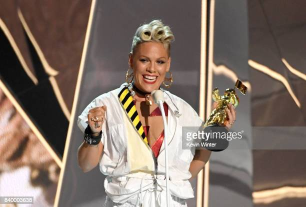 Pink accepts the Michael Jackson Video Vanguard Award onstage during the 2017 MTV Video Music Awards at The Forum on August 27 2017 in Inglewood...