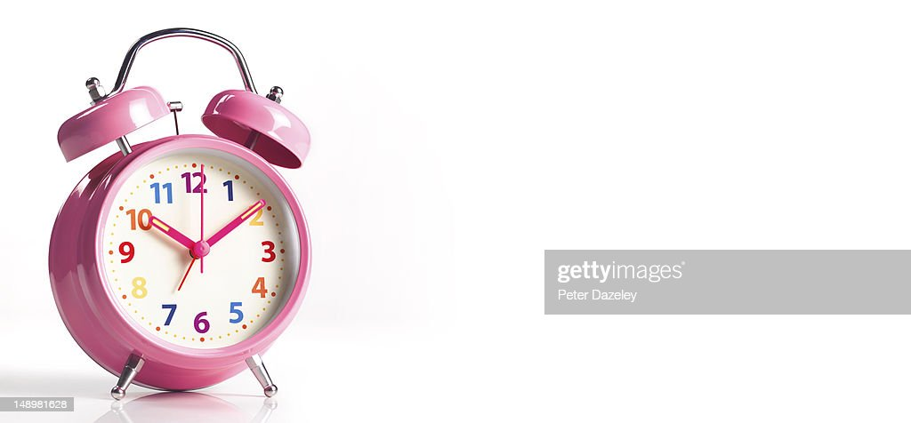 Pink alarm clock, with copy space