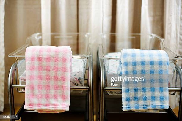 Pink and Blue Blankets in Bassinets