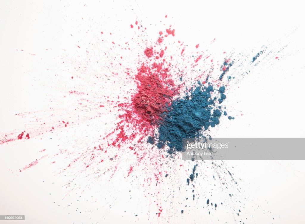 Pink and blue eyeshadow splatter