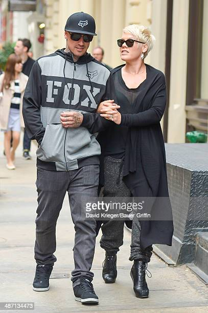 Pink and Carey Hart are seen on April 27 2014 in New York City