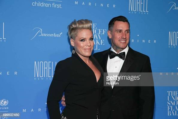 Pink and Carey Hart attend 2015 UNICEF Snowflake Ball at Cipriani Wall Street on December 1 2015 in New York City