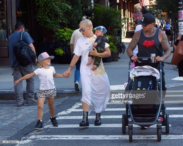 Pink and Carey Hart with children Willow Hart and Jameson Hart step out for a walk to the park on July 5 2017 in New York City