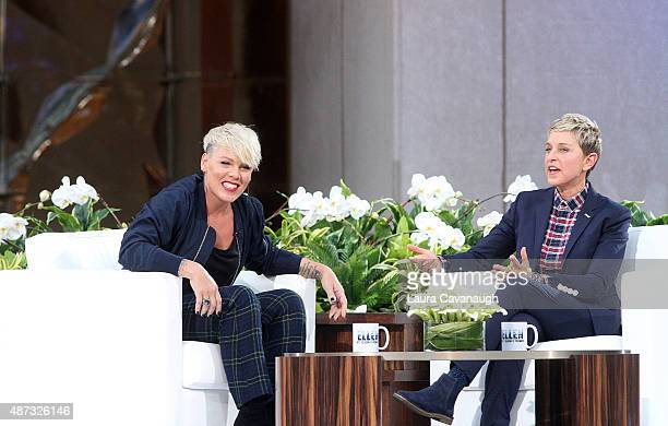 Pink and Ellen DeGeneres attend 'The Ellen DeGeneres Show' Season 13 bicoastal premiere at Rockefeller Center on September 8 2015 in New York City