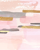 Pink and Gold abstract art.