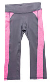 Pink and gray women's athletic pants on white