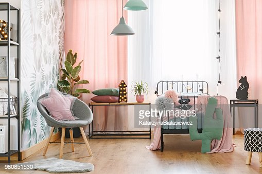 Pink and grey bedroom interior : Stock Photo