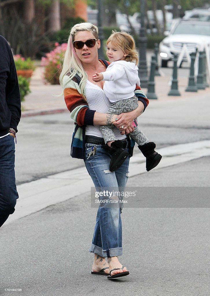 <a gi-track='captionPersonalityLinkClicked' href=/galleries/search?phrase=Pink+-+Singer&family=editorial&specificpeople=220194 ng-click='$event.stopPropagation()'>Pink</a> (aka Alecia Moore) and her daughter, Willow Sage Hart, as seen on June 8, 2013 in Los Angeles, California.