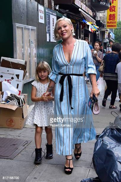 Pink and her daughter Willow seen out for a walk in Manhattan on July 10 2017 in New York City