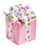 Pink and Polka dot gift on white background