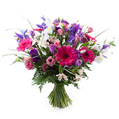 'Pink, purple and white flowers bouquet. Gerbera, Alstroemeria, Lisianthus, Iris and Liatris.'