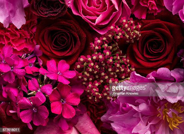 Pink and red floral arrangement, detail