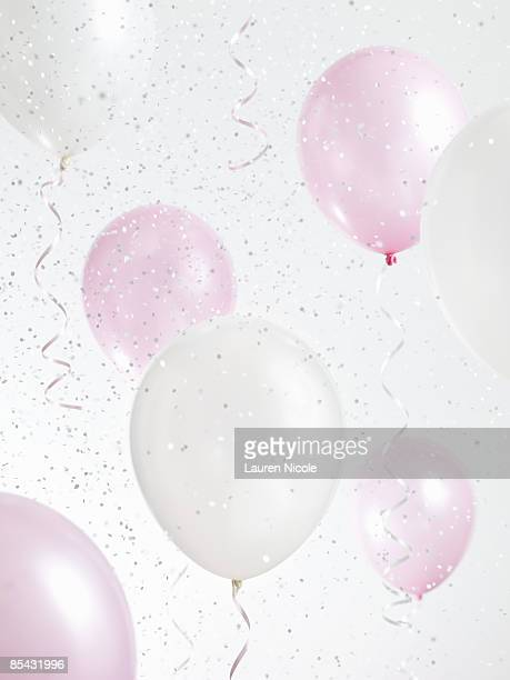 Pink and White Balloons with Confetti