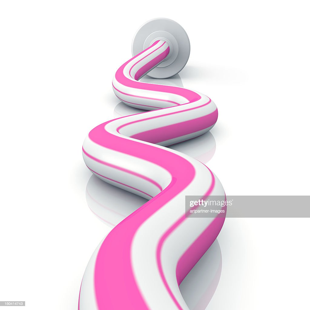 Pink and white toothpaste, on white : Stock Photo