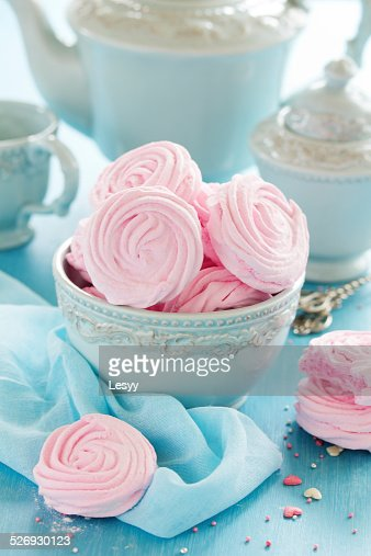 Pink apple marshmallows cooked at home. : Stock Photo