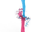 pink bright blue splash collision