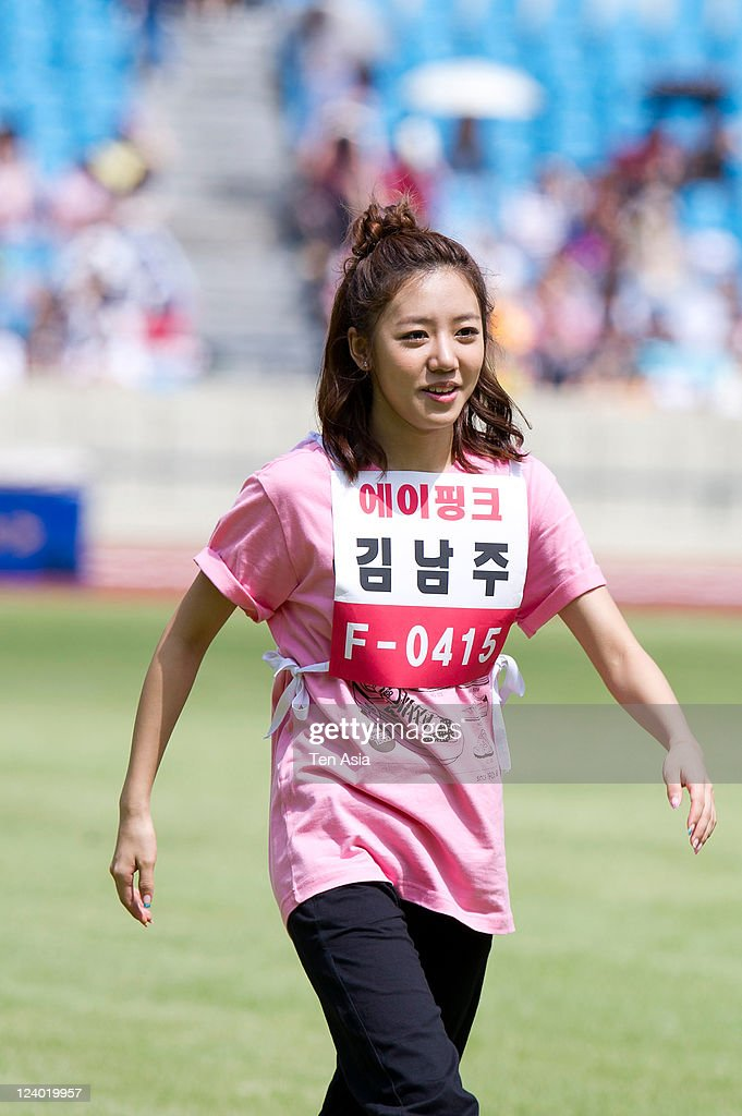 A pink attend the 3rd Idol stars track and field championship at the Jamsil Stadium on August 27, 2011 in Seoul, South Korea.