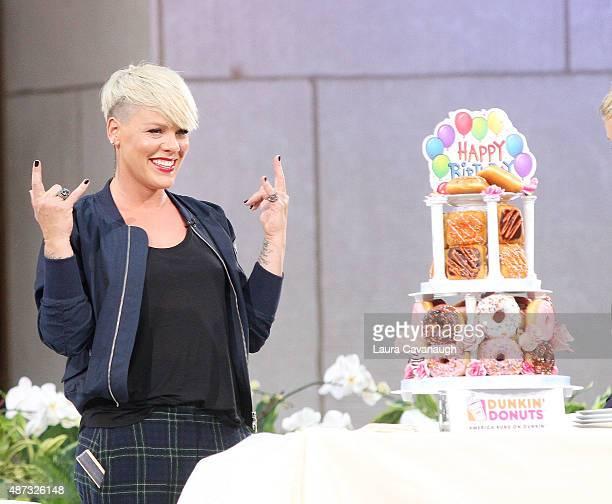 Pink attends 'The Ellen DeGeneres Show' Season 13 bicoastal premiere at Rockefeller Center on September 8 2015 in New York City