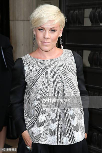 Pink attends the Giorgio Armani Prive show as part of Paris Fashion Week Haute Couture Fall/Winter 20142015 at Theatre National de Chaillot on July 8...