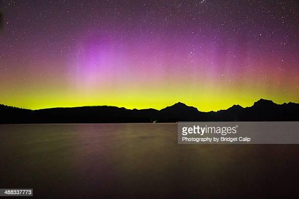 Pink Aurora Borealis Over Rocky Mountains