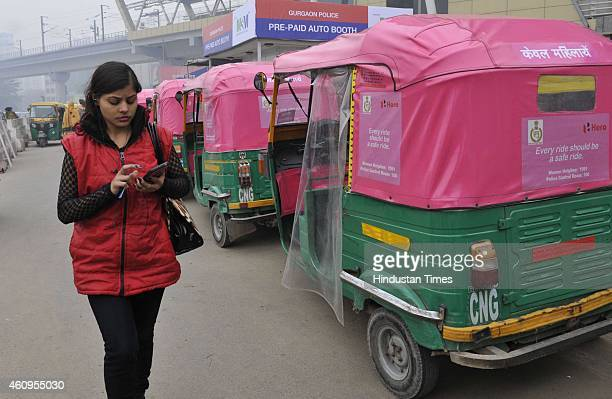Pink autos for women commuters which are yet to be launched but are ferrying passengers in the city on January 1 2015 in Gurgaon India Pink Auto...