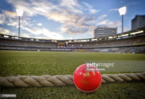 A pink ball used for night matches is seen during day one of the Sheffield Shield match between Queensland and Western Australia at The Gabba on...