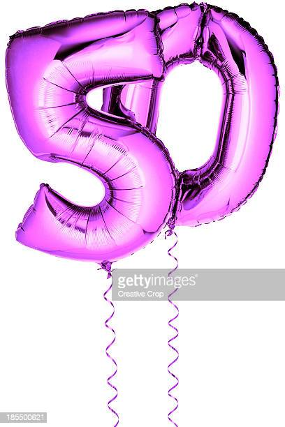 Pink balloons in the shape of a number 50