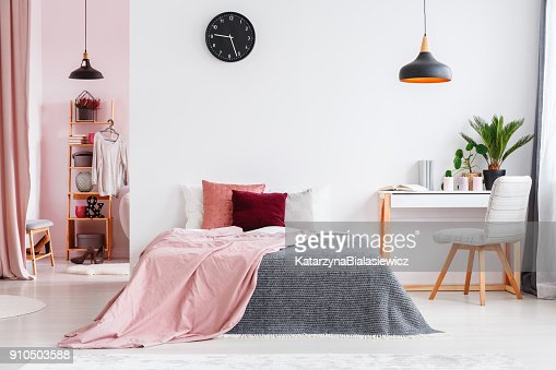 Pink bedroom interior with chair : Stock Photo