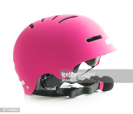 Pink bike helmet isolated on white background. : Stock Photo
