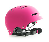 Pink bike helmet isolated on white background.