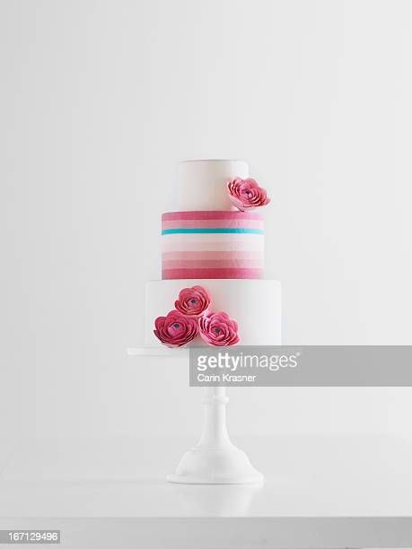 Pink, Blue, & White Striped Wedding Cake