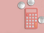 pink calculator and three silver coin on pink floor minimal 3d rendering