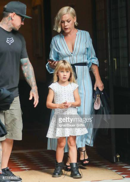 Pink Carey Hart and daughter Willow Hart are seen on July 10 2017 in New York City
