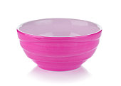 pink ceramic bowl on white background