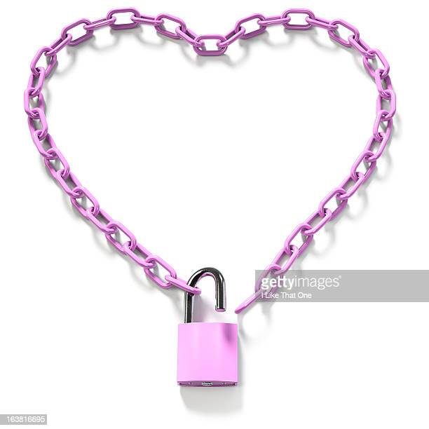 Pink Chain with an unlocked pink padlock