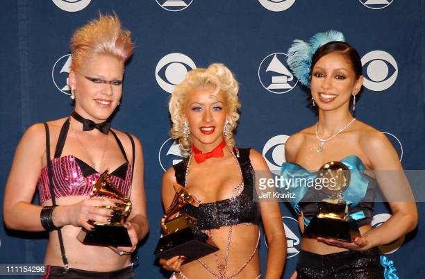 Pink Christina Aguilera and Mya during The 44th Annual Grammy Awards at Staples Center in Los Angeles California United States