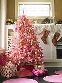 Pink Christmas tree in domestic room