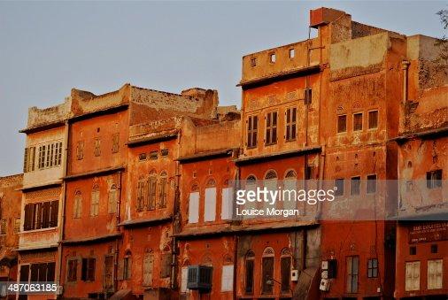 Pink city dusk : Stock Photo