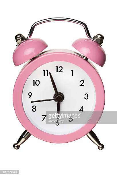 Pink Classic Bell Alarm Clock on White With Clipping Path