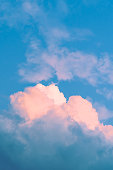 Pink Cloud with blue sky - vertical view