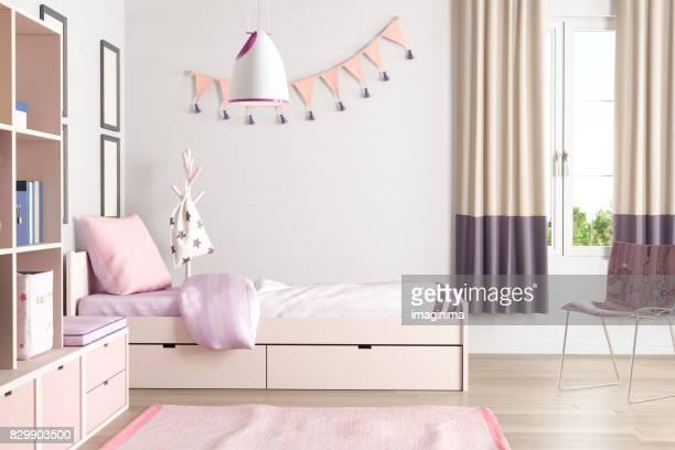 ピンク色の十代の寝室