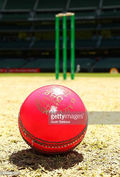 A pink cricket ball is seen on the pitch during day one of the Sheffield Shield match between Victoria and Queensland at Melbourne Cricket Ground on...