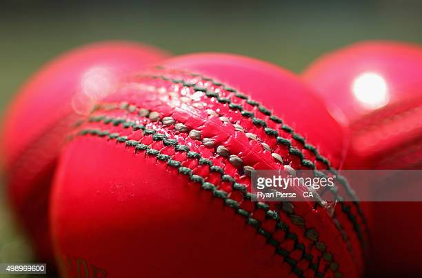 Pink Cricket Balls are seen during day two of the Third Test match between Australia and New Zealand at Adelaide Oval on November 28 2015 in Adelaide...