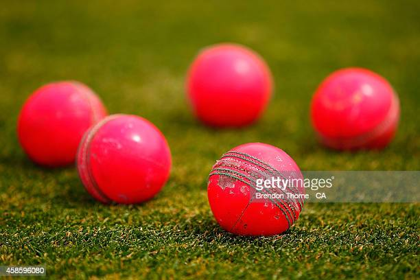 Pink cricket balls used for the day/night match are seen prior to the Sheffield Shield match between Tasmania and Victoria at Blundstone Arena on...